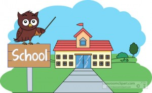 owl sitting on sign in front of school clipart